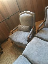 Baker matching pair living room chairs with foot stools