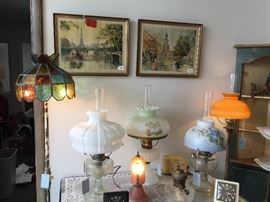 Cast iron floor lamp w/stained glass shade, Aladdin Colonial oil lamp w/Aladdin shade, Aladdin Moonstone Corinthan lamp w/hand painted shade, Aladdin Beehive lamp w/hand painted shade, Marble base floor lamp w/shade