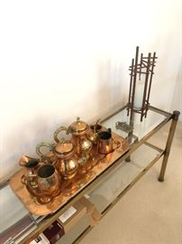Brass/Copper 5-Piece Tea set