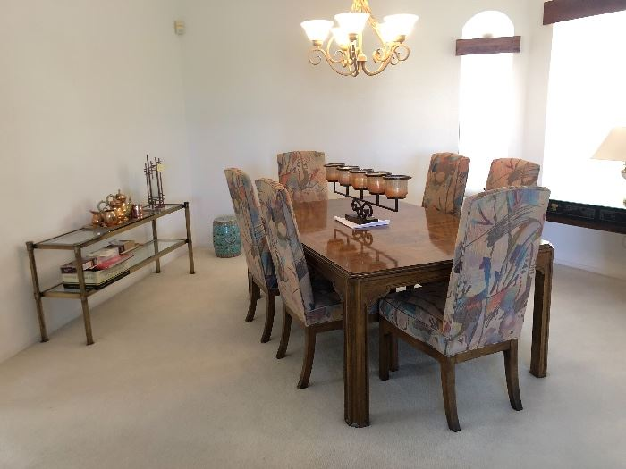Drexel Heritage Walnut Burl Dining Table w/ 6 Padded chairs & 3 Leaves	29x46 x 75 to 142in (3x Leaves 22 in each) HxWxD