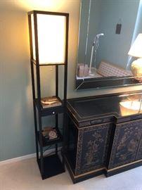 Contemporary Dark Wood Lamp Shelf63x10x10inHxWxD