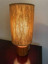 """Circular wood/string shade desk lamp 14 1/4"""" tall"""