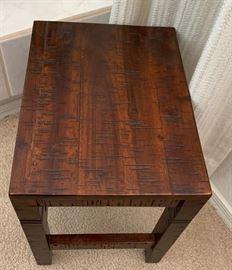 Distressed Walnut End Table15x14x10inHxWxD