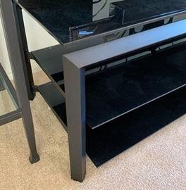 Contemporary Glass/Black Metal TV/AV Stand18x59.5x19inHxWxD