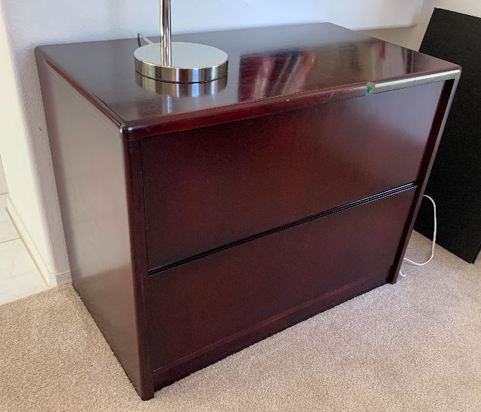 Cherry Wood 2 drawer File Cabinet28.5x36.5x20.5inHxWxD