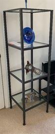 Pottery Barn Tanner Media Tower Shelf Glass/Metal #160x18x18inHxWxD