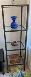 Pottery Barn Tanner Media Tower Shelf Glass/Metal #260x18x18inHxWxD