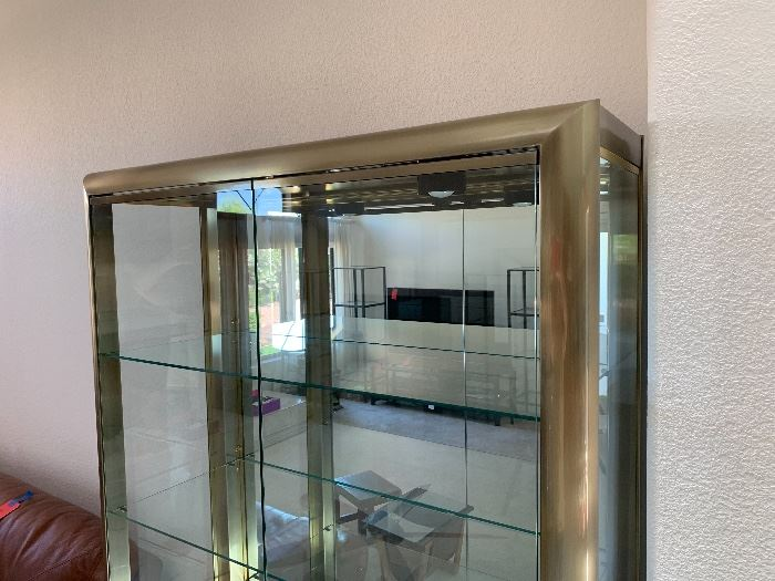 Contemporary Lighted Display Cabinet Brushed Metal/Mirror/Glass76x42x16in HxWxD