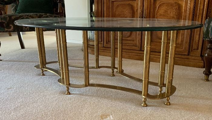 Brass Faux Bamboo Coffee Table oval16x52x26inHxWxD