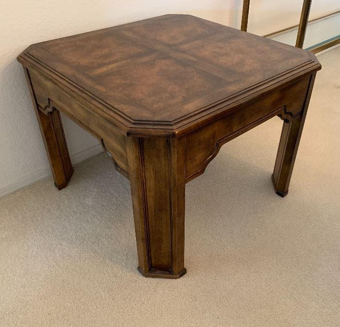 Drexel Heritage Walnut Burl Accent Table22x30x30inHxWxD