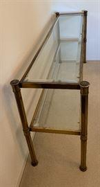 Brass Glass Sofa Table26x50x16inHxWxD