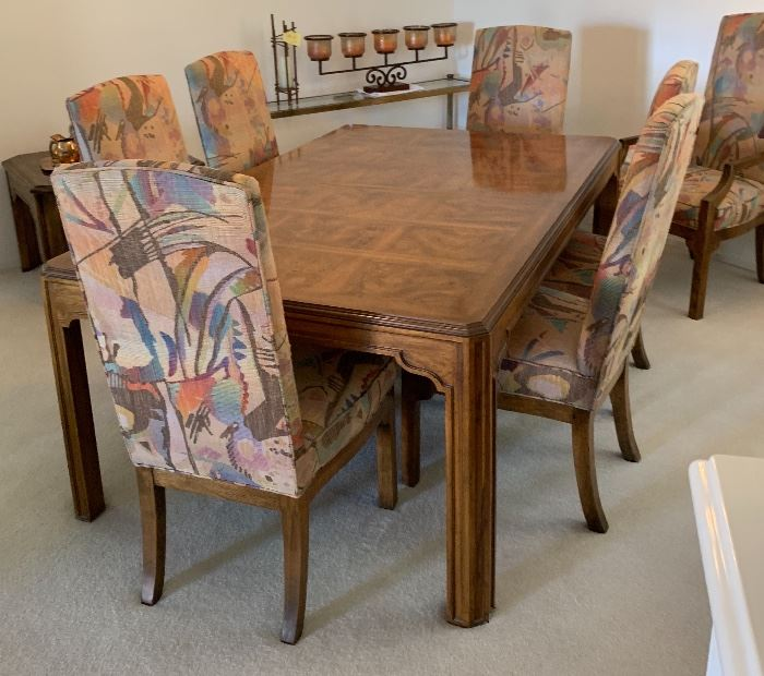 Drexel Heritage Walnut Burl Dining Table w/ 6 Padded chairs & 3 Leaves29x46 x 75 to 142in (3x Leaves 22 in each) HxWxD