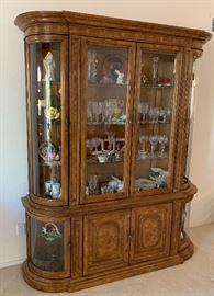 Bernhardt Hibriten Walnut Burl Wood China Cabinet/Hutch83x65x20inHxWxD