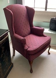 Wing Back Burgundy Accent Chair43x29x27inHxWxD