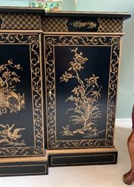Drexel Heritage Et Cetera Chinoiserie Sideboard Cabinet Black Lacquer30.5x60x20in HxWxD