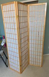 Rice Paper Natural Wood Screen Room Divider