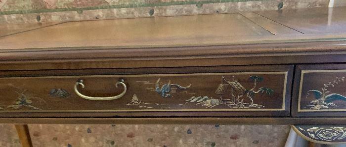 Drexel Heritage Et Cetera Desk walnut Chinoiserie30x60.5x27.5inHxWxD