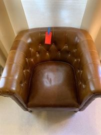 Cognac color leather club chair mid century look  30x30x32inHxWxD