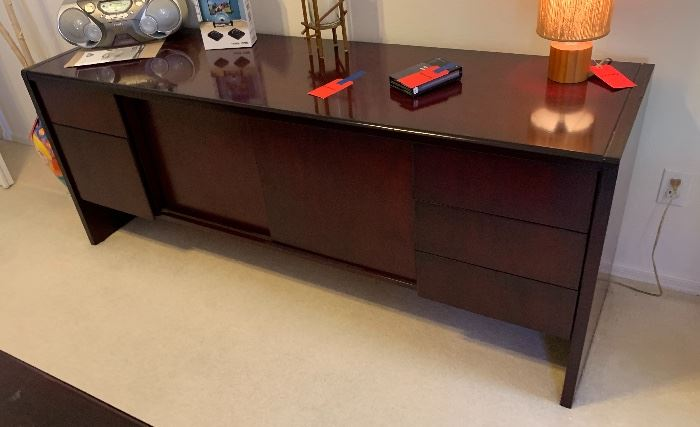 Mahogany Office Credenza  file drawers28.25H x 71.5W x 20.5