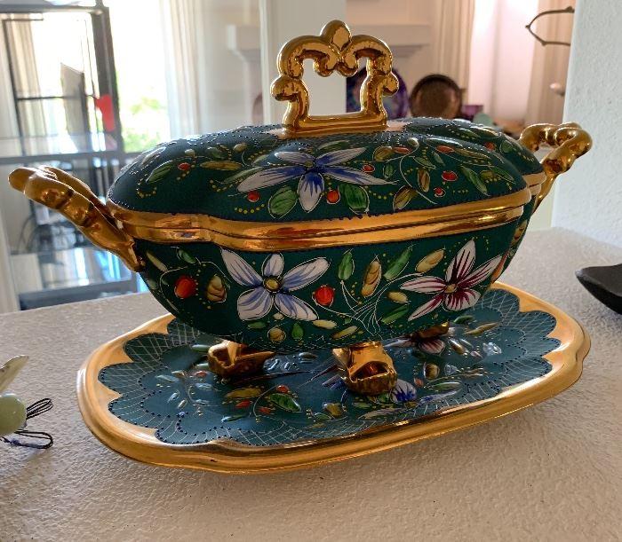 H Bequet Quaregnon Belgium Lidded Bowl w/ Platter