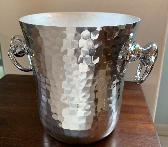 William Sonoma Mauviel France Ice Bucket Hammered Silver