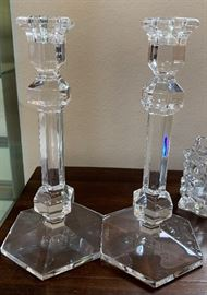 2 Val St Lambert Gardenia Crystal Candle Holders PAIR