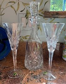 ▪Waterford Decanter Lismore Classic  ▪2 Waterford Lismore Champagne Flute Glasses PAIR