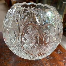 Brilliant Cut Glass Bowl Strawberry/Cherry