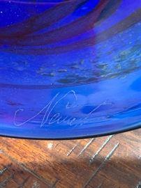 Blue Art Glass Plate Signed