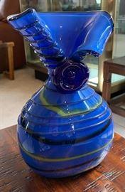 Blue Art Glass Vase