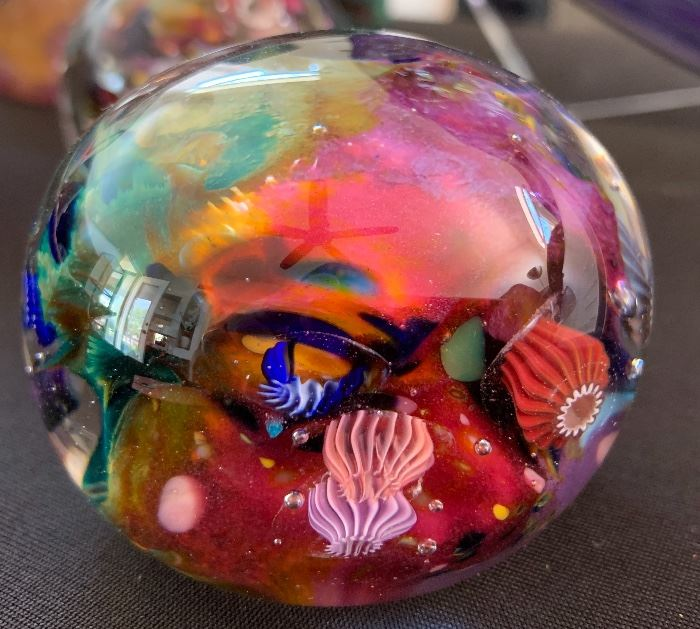 Art Glass Paper Weight Sea Life #1 Signed PAC