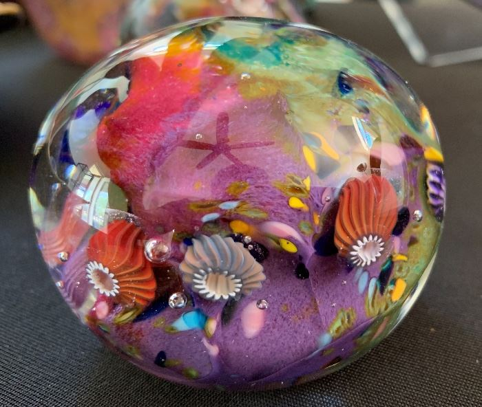 Art Glass Paper Weight Sea Life #2 Signed PAC