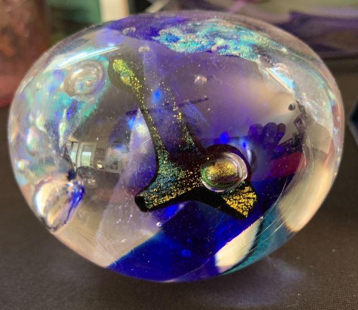 David e Vogt Dichroic Art Glass Paperweight