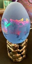 Arthur Court Egg Glass Etched Rabbit