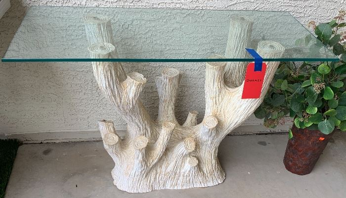 Artistic tree branch table with glass top 38x 16x 26
