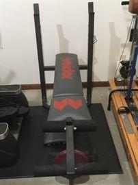 Weider weight bench and weights