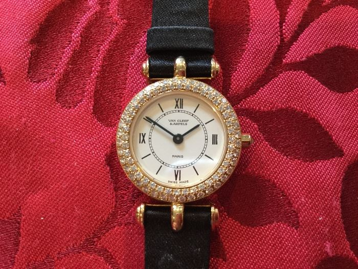 Van Cleef & Arpel 18K and diamond encrusted ladies watch with authentic leather band $7,000