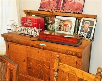 Antique Sideboard, Hamm's Neon Sign and Collectibles