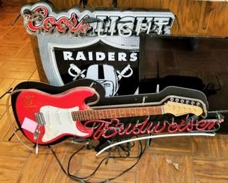 Coors Light Raiders Neon Sign, Budweiser Real Guitar Neon Sign, Flat Screen TV