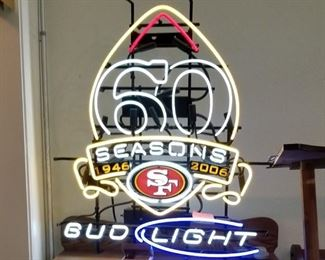60 Seasons 1946-2006 SF Forty Niners Bud Light Neon Sign