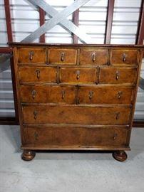 Yorkshire House, Inc. High Point NC Inlaid Burlwood 11 Drawer Dresser on Bun Feet