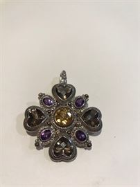 Judith Ripka Sterling and 14K gold pin pendant .