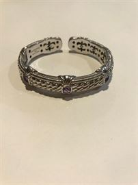 Judith Ripka Sterling and amethyst bracelet