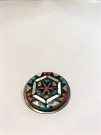 Y. Natachu Zuni  Native American Sterling and inlaid pendant