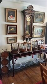 Over 100 clocks.  Antique & vintage Tantalus'.  Artwork.  Crystal, China & more.