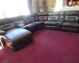 Leather Sectional- Newly purchased, less than one year old. Lloyds of Somerville...…...