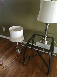 One of a couple nickel-colored lamps.