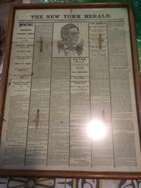 This is a great find!  An original Lincoln assassination from the New York Herald -- it has been in this family for generations.