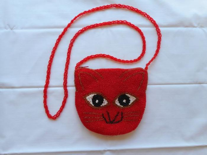 "vintage beaded red cat purse 6"" wide https://ctbids.com/#!/description/share/133121"