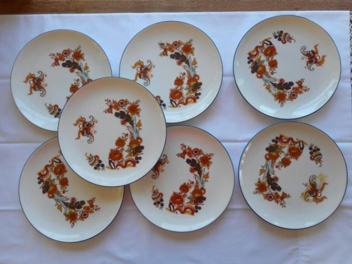 "Set of 7 Vintage JK Bavaria butterfly plates 7 3/4"" made in Western Germany https://ctbids.com/#!/description/share/133126"
